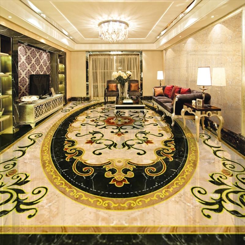 Custom Wallpaper 3D PVC Floor Sticker European Style Marble Flower Pattern Living Room Bedroom Floor Decor Mural Wallpaper Decal