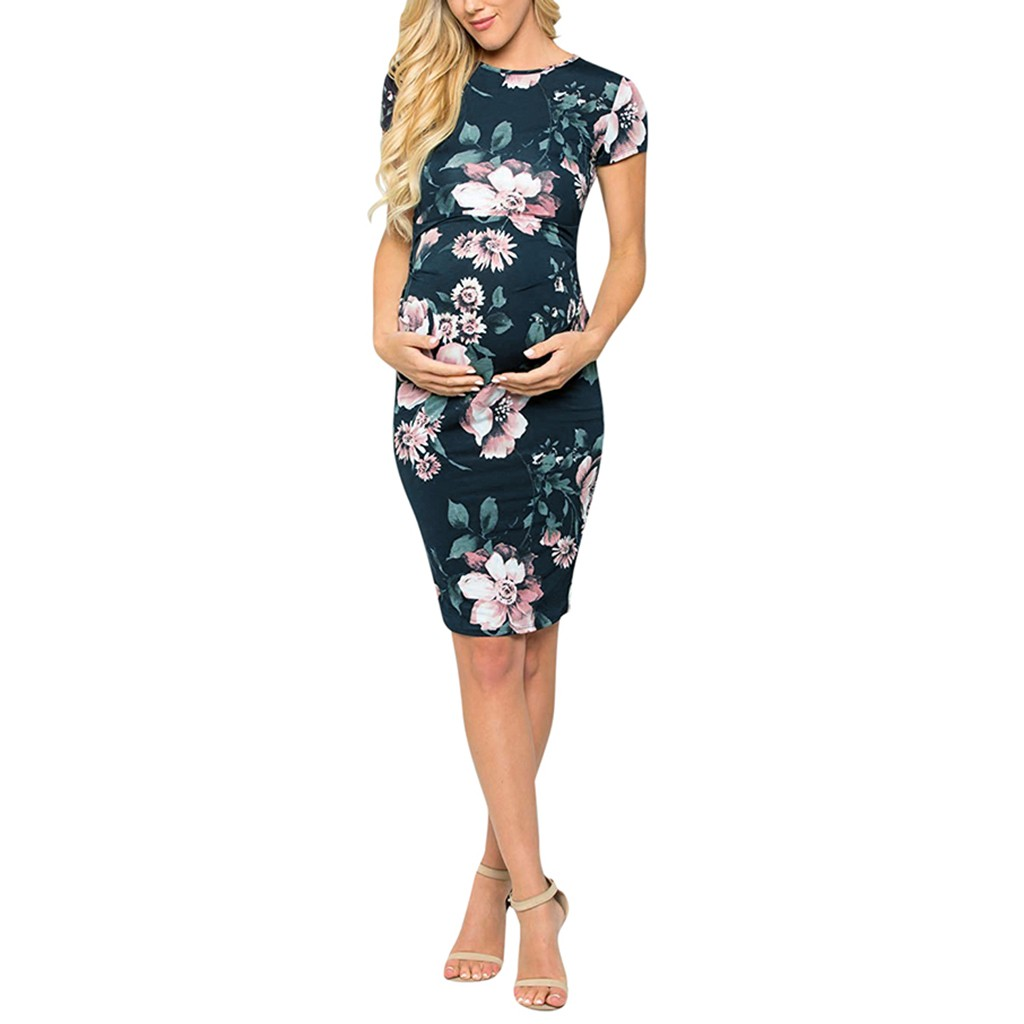 Summer New Fashion Women's Maternity Pregnant Short Sleeve O-neck Casual Comfy Floral Print Dress Wholesale Free Ship Z4