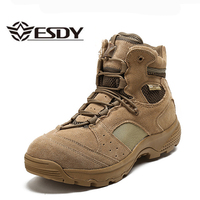 Men Winter Tactical Army Boots Genuine Leather Desert Ankle Military Combat Boots Lace Up Safety Work