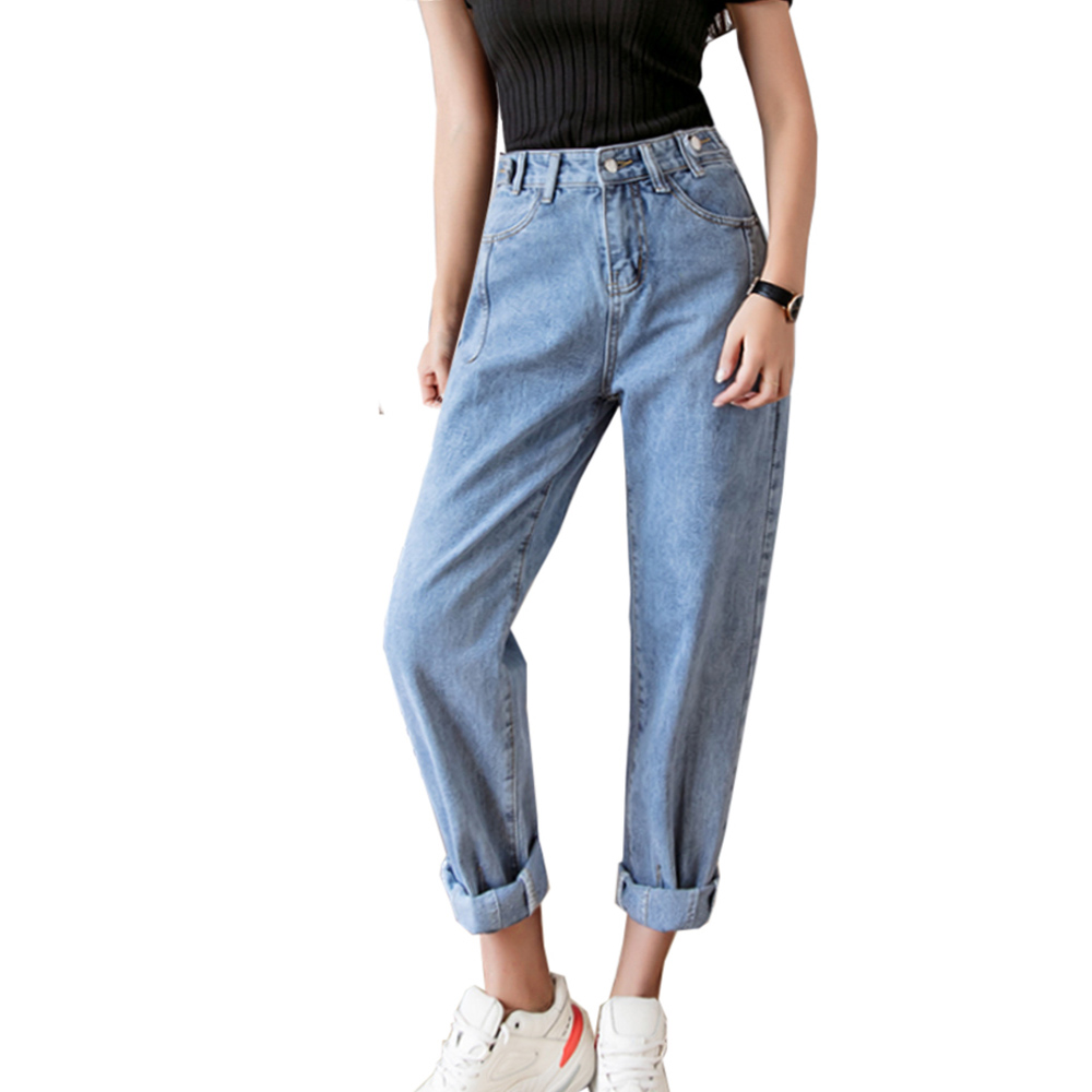 Jeans Woman 2019 Spring Summer High Waist Fitness Casual Ladies Denim Pants Ankle-length Vintage Jean Femme Blue Women Jeans