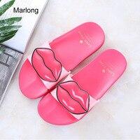Marlong Summer Woman Shoes Lovely Lips Beach Slippers Platform Thick Soled Sandals Women Slipper Flip Flops
