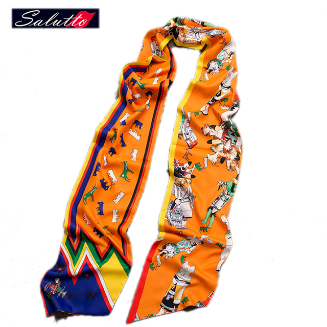 SALUTTO High Quality 100% Silk Extra Long 200X18CM Lepord Twilly Scarf Ladies Scarf Small Bag Bandeau Tie Multifunction