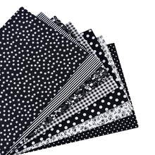 7 pcs. Black 100% Cotton Quilting Fabric for DIY Sewing Patchwork Bedding Bags Tilda Dolls Baby Cloth Textile 50 * cm