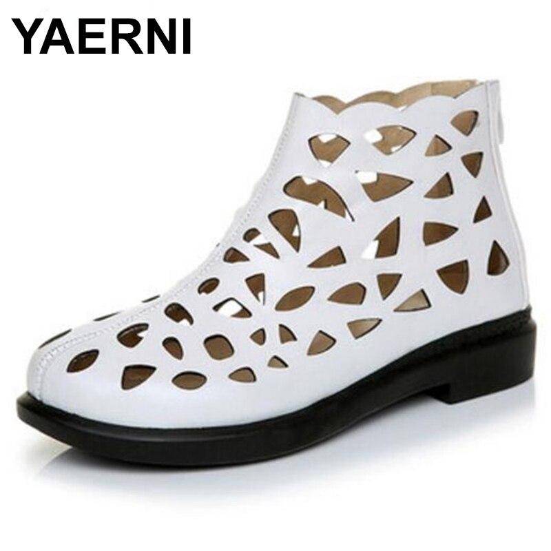 YAERNI Cowhide Hollow Women Summer Sandals Cool Boots shoes 2018 New fashion sandals Comfortable Soft Real Leather Shoes E511 new fashion boots summer cool