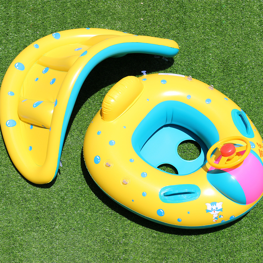 Summer Inflatable Baby Swimming Ring Kids Cartoon Car Water Bath Toys Newborn Float Adjustable Sunshade Swimming Accessories in Accessories from Mother Kids
