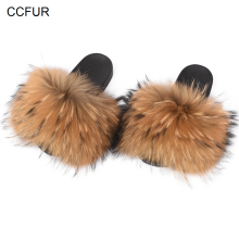 14cm Wider Fur Women Fashion Slides New Real Raccoon Fur Slippers Sliders Summer Autumn Indoor Top Quality S6020W(China)