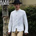 2016 Men's clothing Stand collar tang suit vintage chinese style medium-long national plate buttons linen shirt Singer costumes