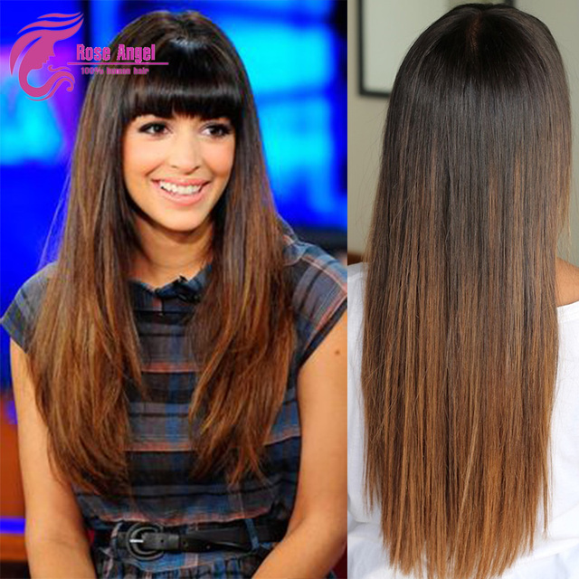 Full Lace Wig Straight With Bangs Perruques Humain Hair Perruque