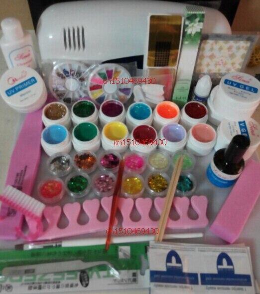 2018. DIY Full Set 12 color Nail UV Gel Kit 9W UV lamp kit Brush nail tips Soak Off Polish Manicure File Cleanser tool