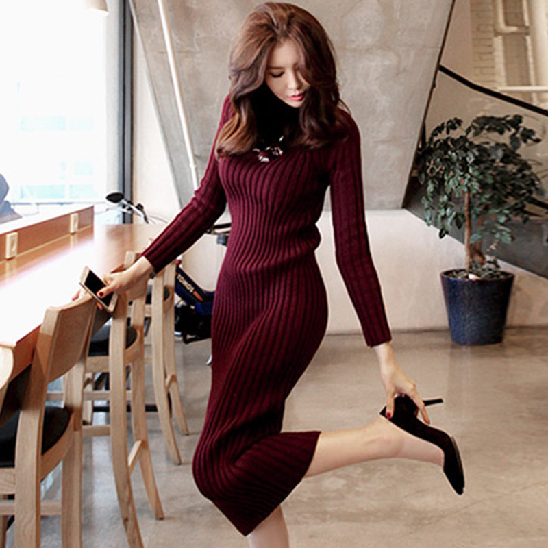 Women Knitted Dress New Autumn Winter Warm Long Sleeve Turtleneck Sweater Dresses Slim Bodycon Sheath Knit Dress Vestidos SF604 Платье