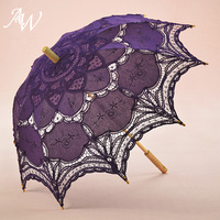 AW Classic Elegant Palace Style Long Arm Wedding Bridal Umbrella Embroidery Gingham Lace Parasol Lace Umbrella