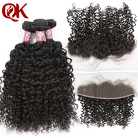 QueenKing Brazilian Human Hair Curly Bundles With Closure Ear to Ear Frontal Remy Extension 4pcs Lots Human Hair Weaves