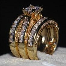 Vecalonแฟชั่น3 In 1แหวนเจ้าหญิงตัด7มม.AAAAA Zircon Czสีเหลืองทอง925 Sterlingเงินงานแต่งงานแหวนชุด