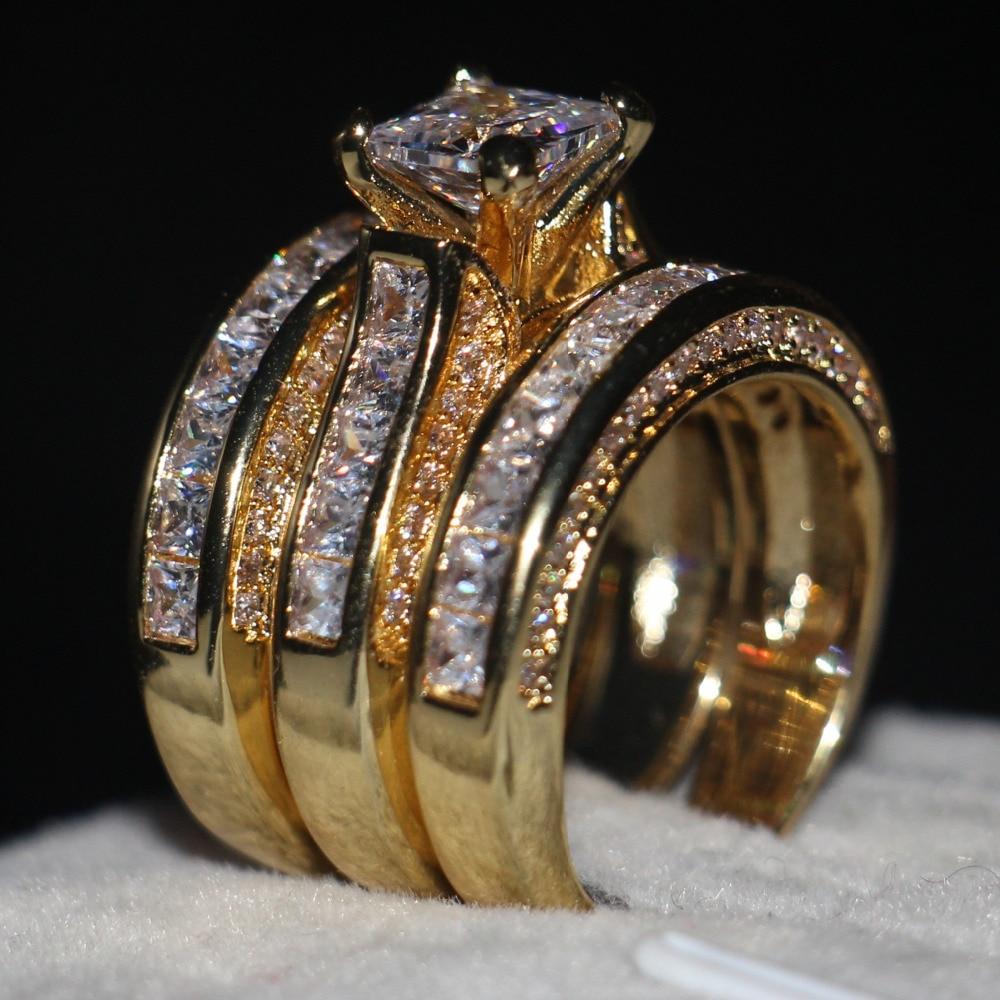 Vecalon 3-in-Donne di Modo anello Princess cut 7mm AAAAA Zircone cz Oro Giallo 925 Sterling Silver wedding Band ring Set