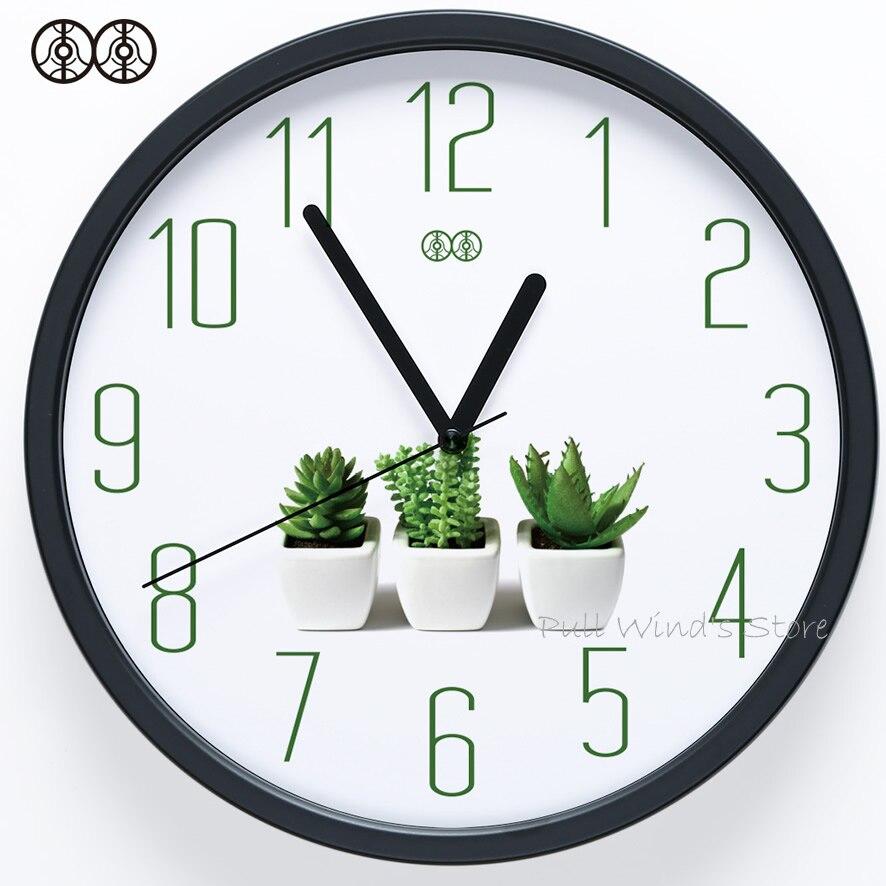 Brève petite horloge murale fraîche maison vert plante logo créatif bureau horloge murale