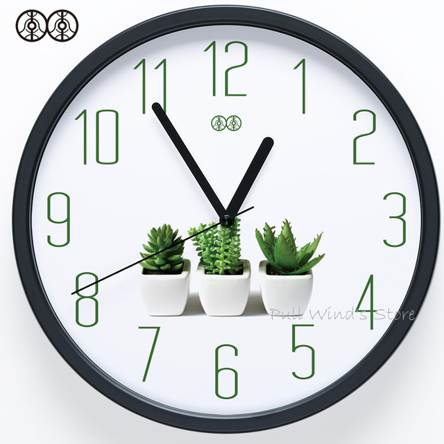 office wall clocks large. Brief Small Fresh Home Wall Clock Green Plant Logo Creative Office Clocks Large D