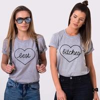 EnjoytheSpirit Best Bitches Set Of 2 BFF T Shirts 100 Cotton Tee UNISEX Light Grey And