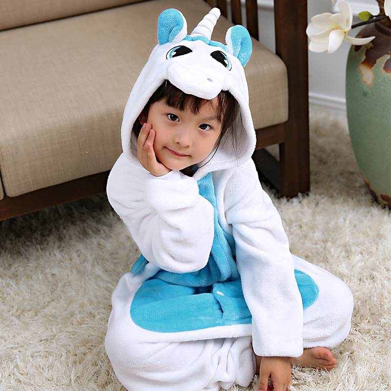Kigurumi Winter Pajamas For Children Girls Unicorn Cartoon Animal Kids Costume Boys Onesie Sleepwear Jumpsuit 4 6 8 10 12 Years