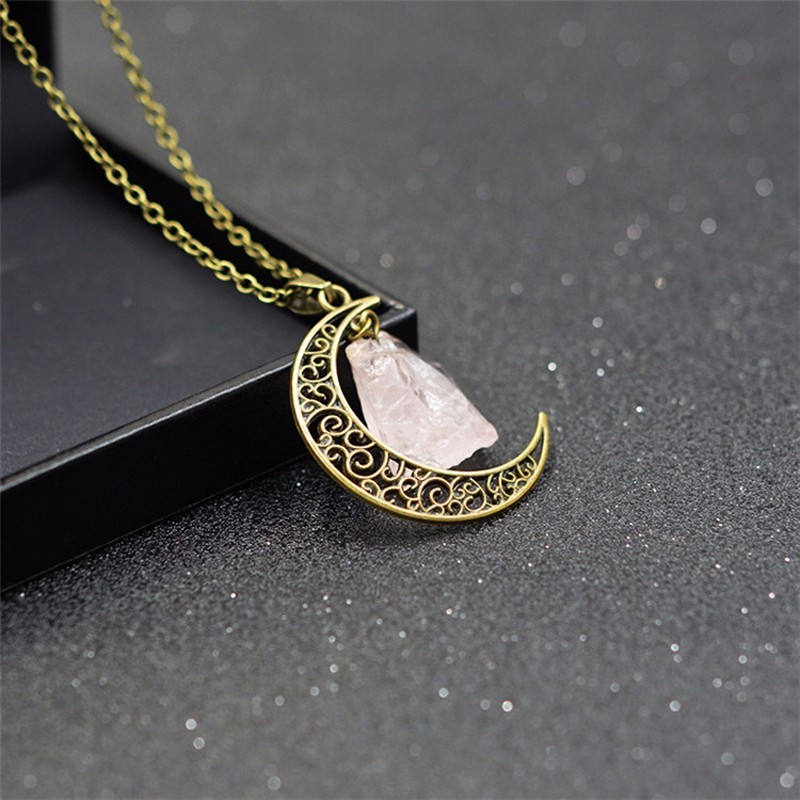 HTB1kmYcKXXXXXa6XpXXq6xXFXXXT - New Fashion Moon Vintage Irregular Natural Stone Pendant Necklaces Necklace Multi Spar Quartz Crystals Jewelry