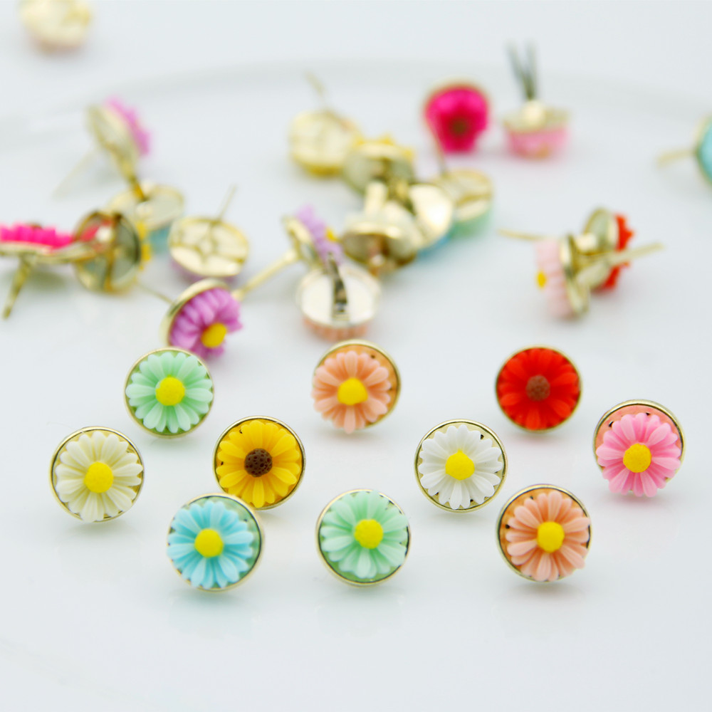 20pcs 12mm Colorful Daisy Flowers Metal Brads For DIY Scrapbooking Embellishment Photo Album Decor Jewelry Hand Crafts Accessory