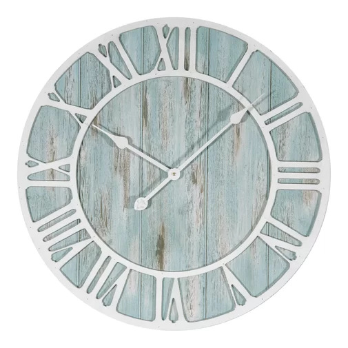 Creative Large White Wooden Roman Clock Round Wall Clock Modern Design Living Room Cafe Home Mute Decorative Quartz Clock