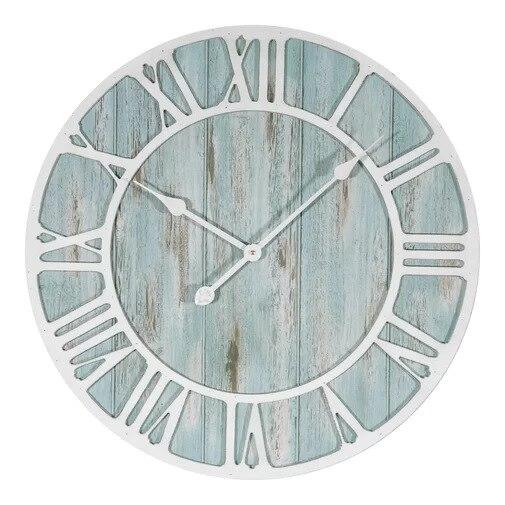 Creative grande horloge romaine en bois blanc horloge murale ronde Design moderne salon café maison muet horloge à Quartz décorative