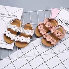 Children Sandals Girls Princess Leather Beautiful Flower Shoes Toddler Kids Flat Baby Roman Beath Wear P25