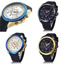 Men's Casual Sports Round Dial Rubber Strap Male Fashion Calendar Wrist Watch