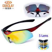 남성 여성의 편광 자전거 선글라스 고글 5 렌즈 클리어 자전거 장난감 총 안경 안경 UV400 증거 스포츠 낚시 선글라스