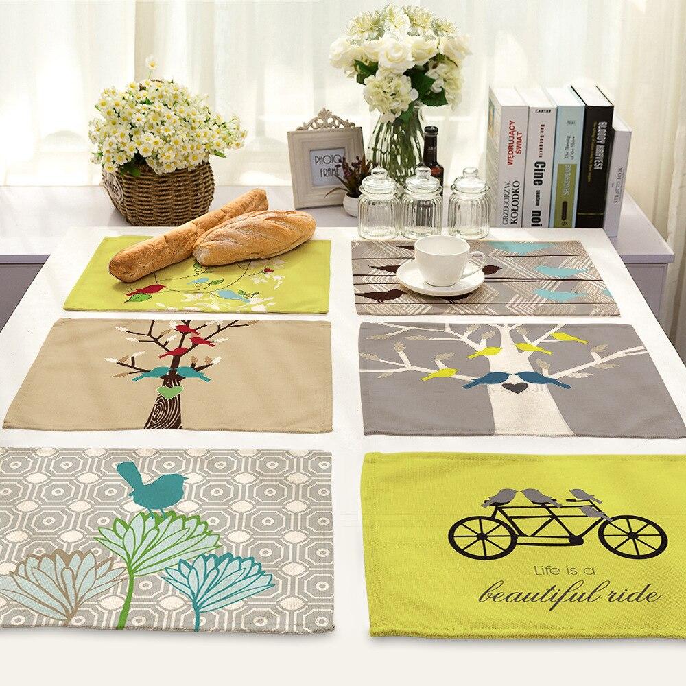 cammitever korean birds bike flag floral placemats placemat bar plate mats table mat set kitchen coffee coaster cushion hot pads. Interior Design Ideas. Home Design Ideas