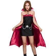 4433c762f04 Adult Women Halloween Red Black Devil Vampire Costume Ladies Sexy Tube Dress  Robe Suit High Collar Cloak Cape For Teen Girls