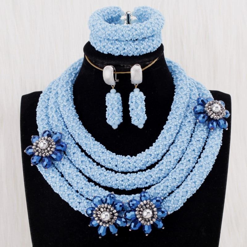 4 UJewelry 2019 Mulheres Jóias Africano 4 Camadas Mar Azul Rodada Colar Conjunto Com Flores Azuis Escuras Em Jóias Nigeriano conjunto de Noiva