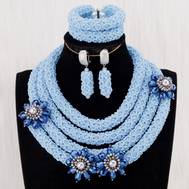 4UJewelry 2019 African Women Jewelry 4 Layers Sea Blue Round Necklace Set With Dark Blue Flowers On Nigerian Jewellery Set Bride