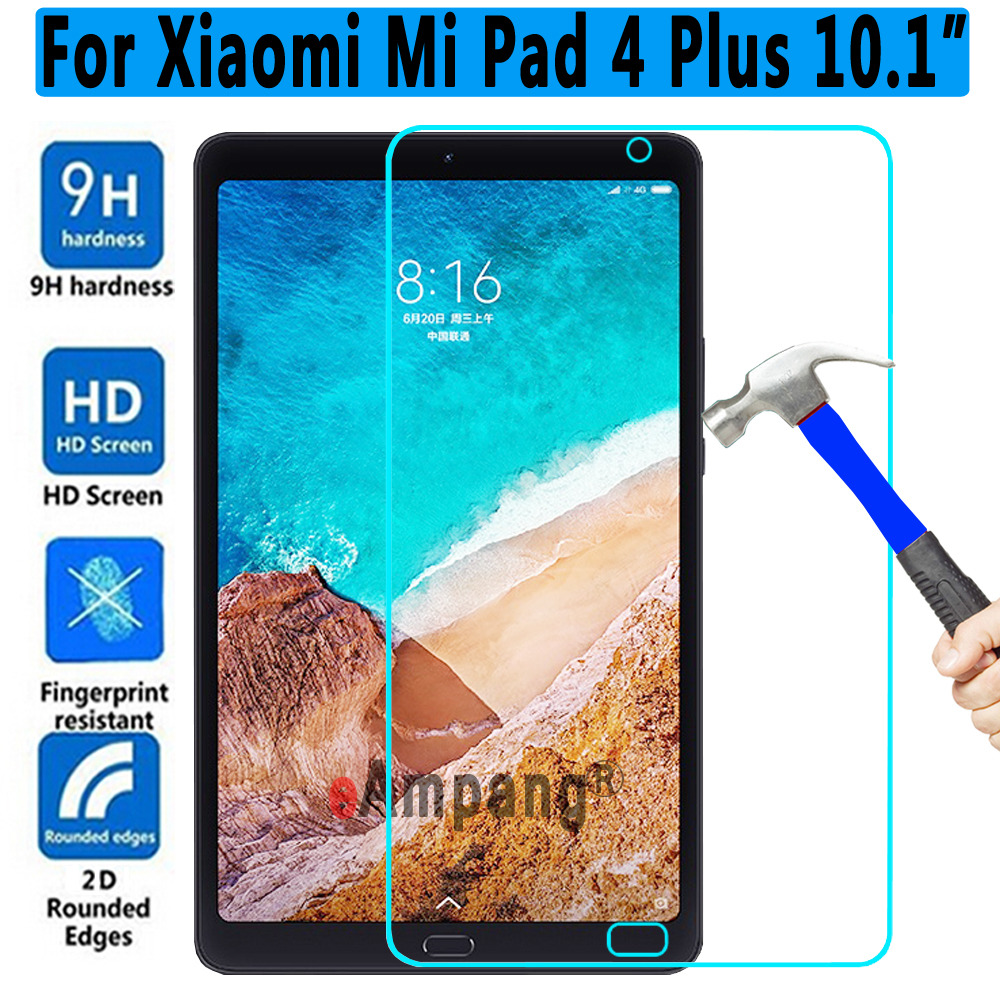 High Quality 9H HD Tempered Glass for Xiaomi Mi Pad4 Plus 10.1 inch Screen Protector For Xiaomi Mi Pad 4 Plus Tempered Glass 2pcs screen protector for moto g5s plus high clear premium tempered glass