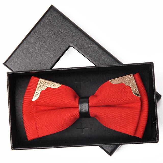 Alta qualidade 2017 marca os designers de casamento do noivo gravata borboleta de metal moda gravata borboleta gravata dos homens gravatas dos homens bowtie sólida orange branco
