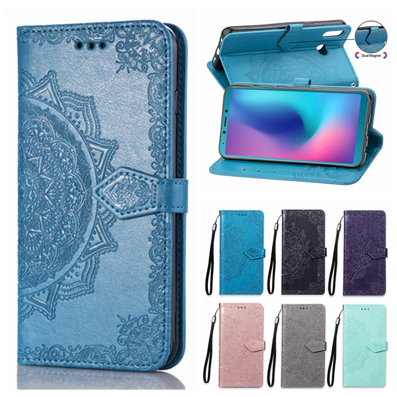 A6S Case on for Samsung Galaxy A6S G6200 Case Flip Leather 3D Mandala Flower Phone Case For Samsung Galaxy A6s Case Cover Coque