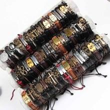 Christian Jewelry 30 Pcs/lot Mixed Styles Metal Leather Cuff Bracelets