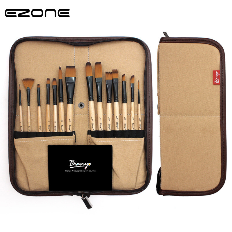 EZONE 1Set Water Color Paint Brush (14Pcs Brushes+Canvas Bag) Different Shape Watercolor Oil Drawing Tools