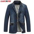 LONMMY M-4XL Cowboy calça jeans blazer jaqueta dos homens jaqueta De Algodão PU costura de couro jaqueta Jeans Casual homens Ternos blazer para os homens nova