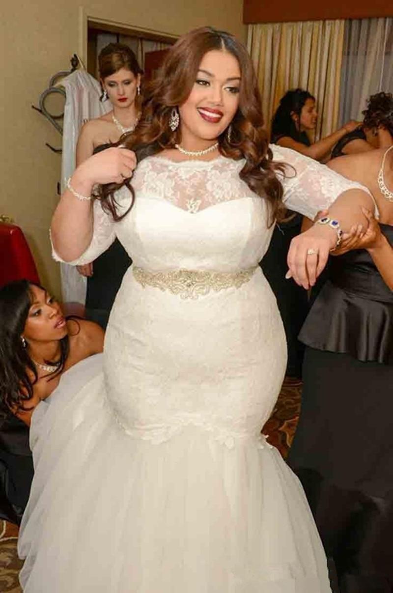 2016 Plus Size Half Sleeve Mermaid Lace Tulle font b Wedding b font font b Dresses
