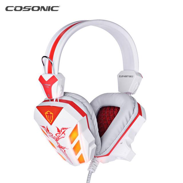 Cosonic CD-618 40mm Unidad Del Conductor de Dos canales Estéreo Gaming Headset Auriculares con Control del Volumn Mic LLEVÓ La Luz de PC de la Computadora