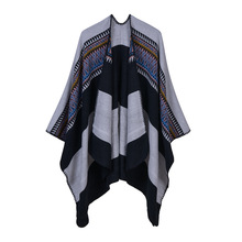 2019 autumn and winter women scarf warm thick knitted poncho and cap cashmere like shawls and wraps oversize lady outside coat