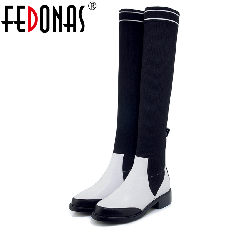 FEDONAS 1Fashion Women Over The Knee Boots Genuine Leather Autumn Winter Warm High Heels Shoes Woman Round Toe Casual High Boots zvq winter knee high boots woman mid heel round toe ladies warm shoes real fur genuine leather foot upper women boots heels