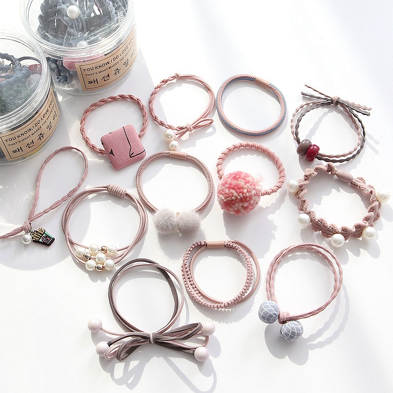 12 Pcs A Set Of Hair Rope Rubber Band Hair Ring Set Leather Cover Head Rope Korean Small Fresh And Simple Personality Lovely