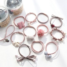 12 Pcs A Set of Hair Rope Rubber Band Ring Leather Cover Head Korean Small Fresh and Simple Personality Lovely