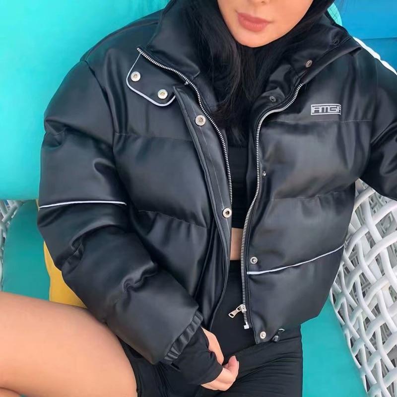 En Pu Manteaux Chaud Rembourré Cuir Padded Épais De Haute Coat Vestes Mode Femme Femmes Noir Harajuku Filles D'hiver Veste Black Hip Réfléchissant Hop n6axxTqYp