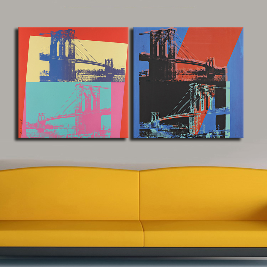 2PC set pop art Brooklyn Bridge 1983 oil painting art Prints ...
