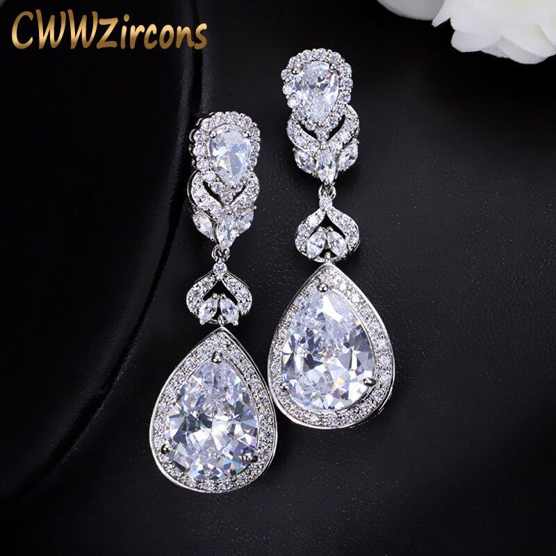 CWWZircons elegante en forma de gota de agua de Zirconia cúbica de novia de cristal pendientes de boda, joyas para novias CZ166