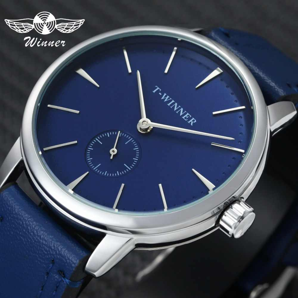 f7de943d317 WINNER Fashion Minimalist Blue Mechanical Watch Men Genuine Leather Strap  Casual Ultra Thin Mens Watches Top