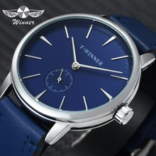 Победитель Мода Минималистский синий механические часы для мужчин пояса из натуральной кожи ремень повседневное ультра тонкий для мужчин s…